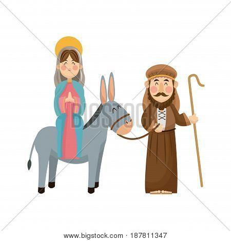 virgin mary joseph donkey scene nativity vector illlustration
