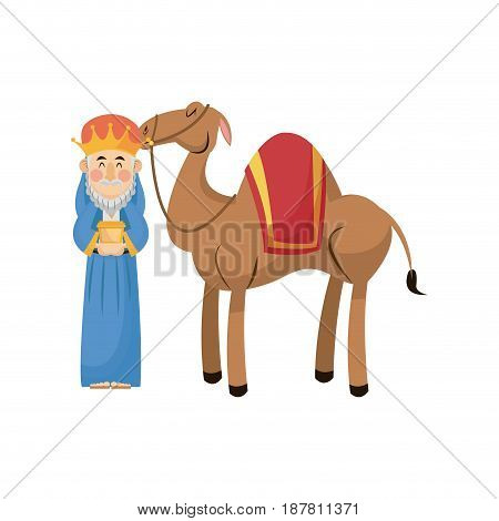 christmas wise king with camel traditional vector illustration