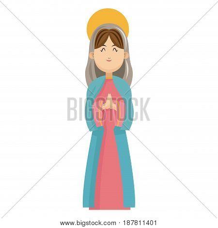 virgin mary blessed manger christmas charatcer vector illustration