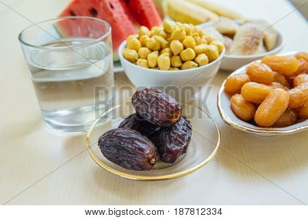 Assorted fasting food during holy month of Ramadan.