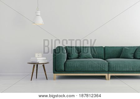 3d render of beautiful clean interior with green couch and white wall