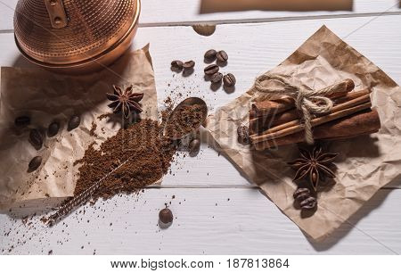 Top View Of Ground Coffee, Coffee Beans, Silver Spoon
