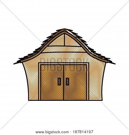 drawing manger house wooden nativity design vector illustration