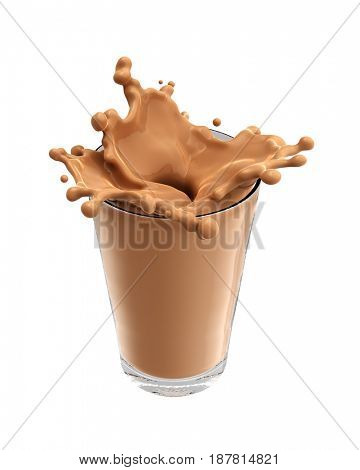 Splash of chocolate milk from the glass on isolated white background. 3d rendering