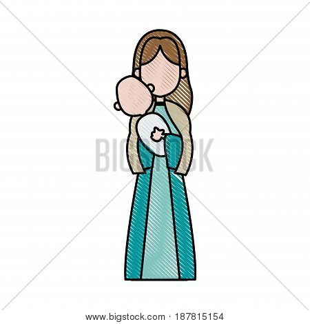 virgin mary holding baby jesus. catholicism saint symbol image vector illustration