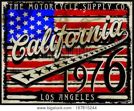 California Amarican Flag retro style graphic design vector art