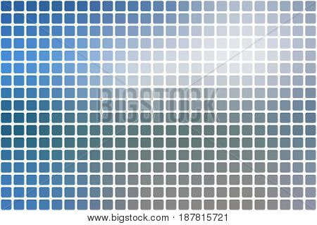 White blue shades vector abstract mosaic background with rounded corners square tiles over white