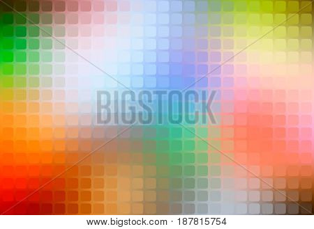 Rainbow colors vector abstract rounded corners square tiles mosaic over blurred background