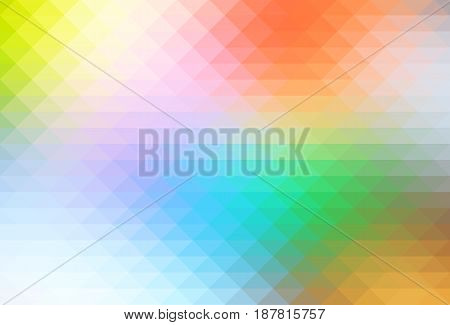 Rainbow pale colors abstract geometric background with rows of triangles