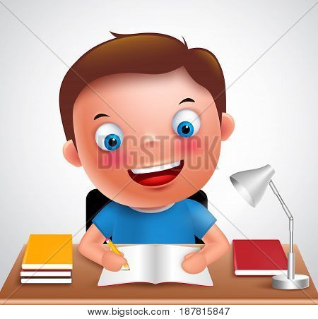 Boy kid vector character happy studying and doing school homework in the desk holding pencil and books. Vector illustration.