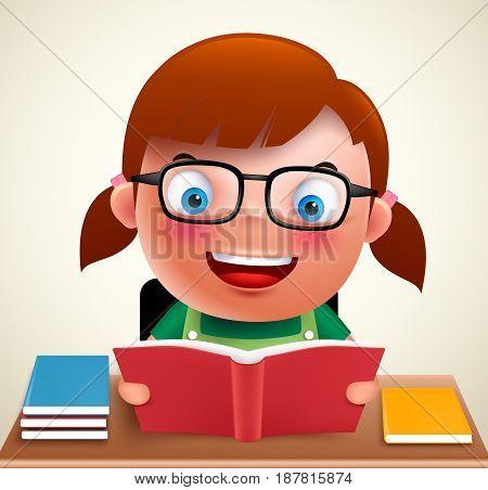 Adorable preschool girl kid vector character holding and reading book and doing school homework in desk wearing eyeglasses. Vector illustration.