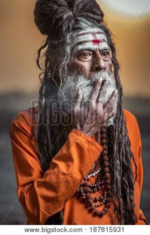 Portrait of sadhu smoking and standing with sunrise behind him, Varanasi, India.