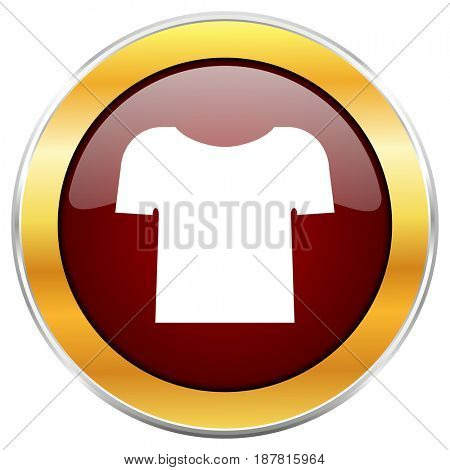 Shirt red web icon with golden border isolated on white background. Round glossy button.