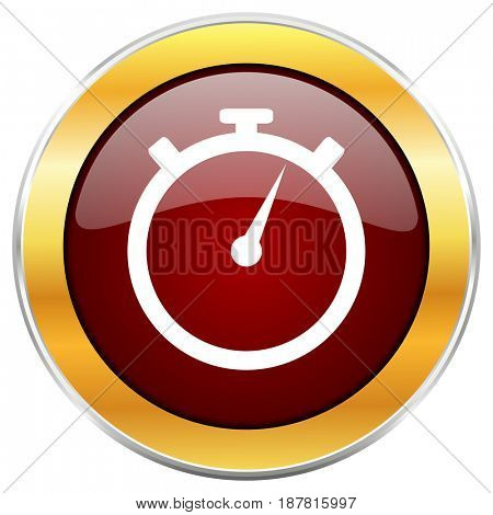 stopwatch red web icon with golden border isolated on white background. Round glossy button.