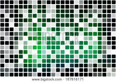 Glowing neon green occasional opacity vector square tiles mosaic over white background