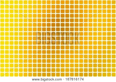 Bright golden yellow vector abstract mosaic background with rounded corners square tiles over white