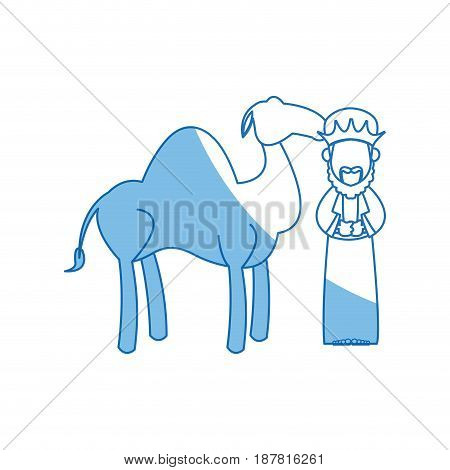 wise king and camel manger character nativity vector illustration