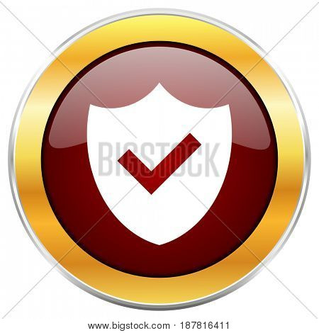 Shield red web icon with golden border isolated on white background. Round glossy button.