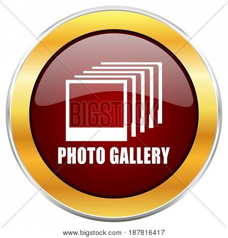 Photo gallery red web icon with golden border isolated on white background. Round glossy button.
