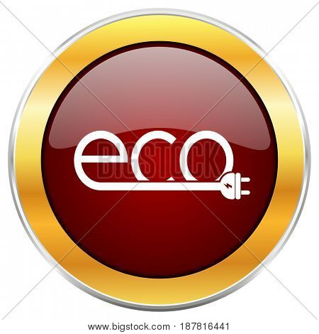Eco electric plug red web icon with golden border isolated on white background. Round glossy button.