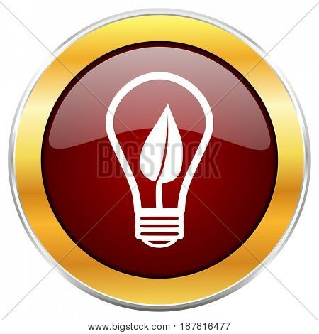 Green energy light bulb red web icon with golden border isolated on white background. Round glossy button.