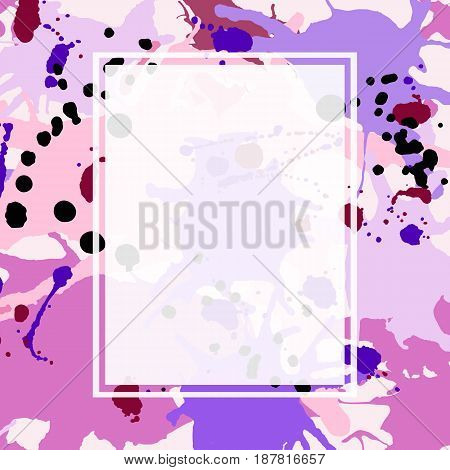 Pink maroon purple lilac artistic ink splashes vector background. Greeting card or invitation template with semi-transparent rectangle frame for text