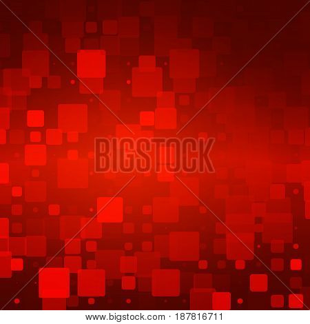 Red brown black vector abstract glowing background with random sizes rounded tiles square