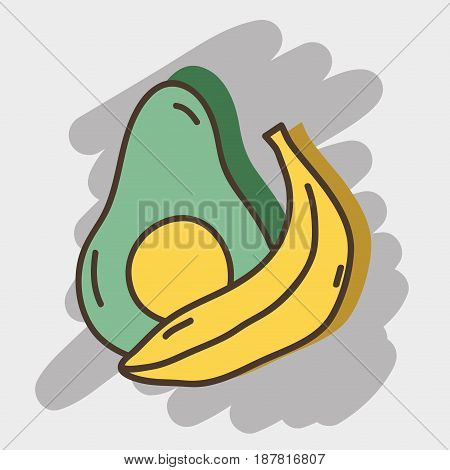 delicious avocado and banana organ fruits, vector illustration