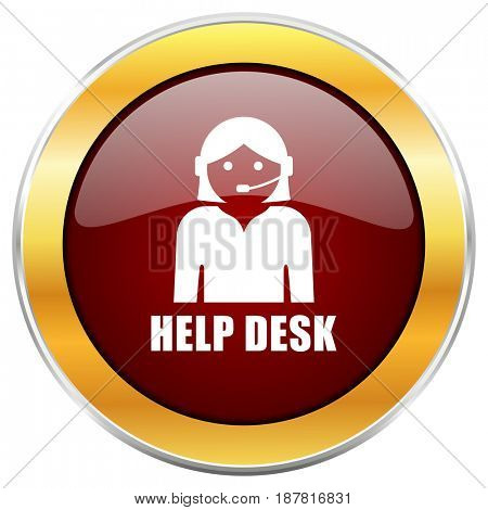 Help desk red web icon with golden border isolated on white background. Round glossy button.