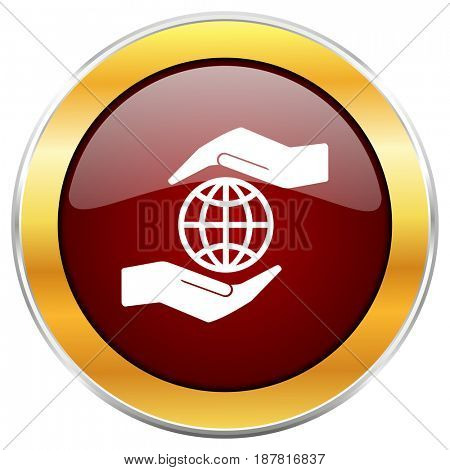 Hand protect the earth red web icon with golden border isolated on white background. Round glossy button.