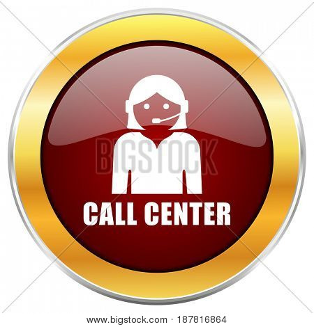Call center red web icon with golden border isolated on white background. Round glossy button.