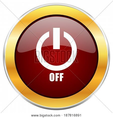 Power off red web icon with golden border isolated on white background. Round glossy button.