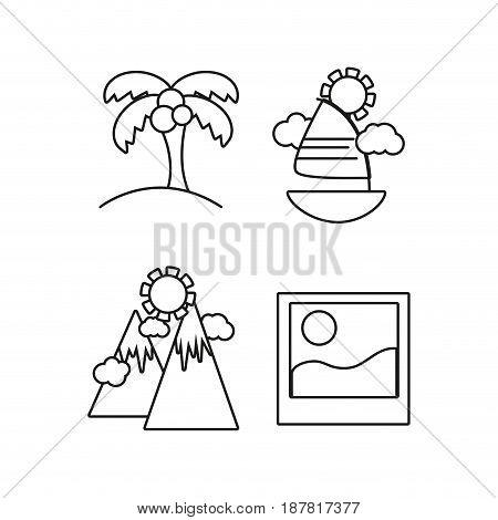 set activities in the summer vacation season, vector illustration
