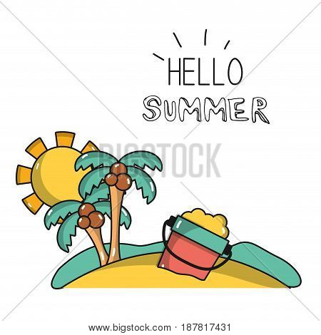 palms with bottle of sand in the island on vacation, vector illustration