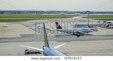 The apron of Frankfurt airport - FRANKFURT - GERMANY -  2017