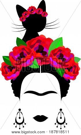 portrait of Mexican woman minimalist Frida Kahlo with black cat and red flowers, vector isolated