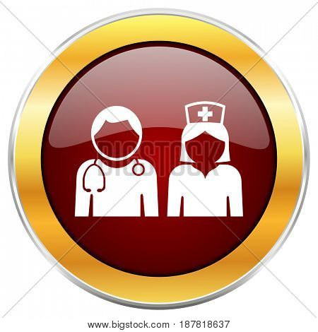 Hospital red web icon with golden border isolated on white background. Round glossy button.