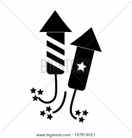 contour cute fireworks to celebrate special days, vector illustration