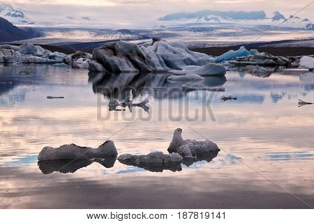 Translucent icebergs in the Ice lagoon Yokulsarlon. South-East Iceland. Pink sunset in July