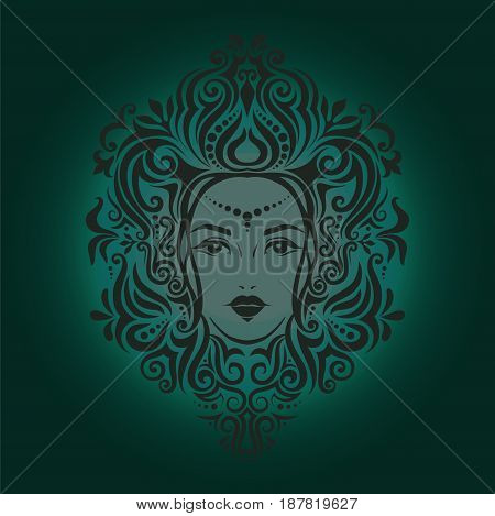 Tribal Tattoo Illustration Of Girl Face And Hair Beautiful Asian Princess Divine Girl With Ornate Ha