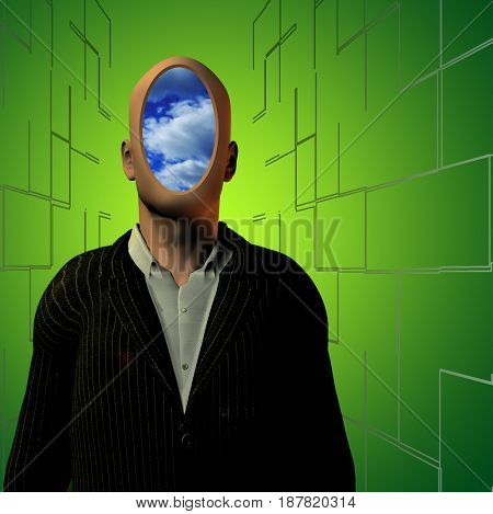 Man in suit with clouds instead of face.  3D rendering
