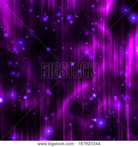 Purple curtains with stars.  3D rendering