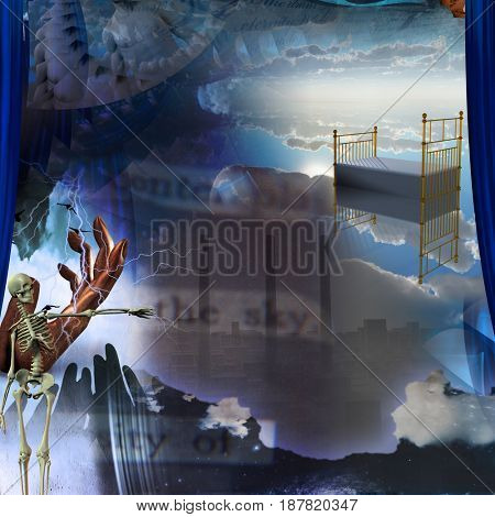 Surreal painting. Endless dimensions. Hand of prayer. Skeleton points to the city with factory pipes. Empty bed in the sky.  3D rendering    Some elements courtesy of NASA