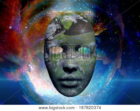 Mask with the image of O'Neill cylinder. Colorful universe on background.  3D rendering    Some elements courtesy of NASA