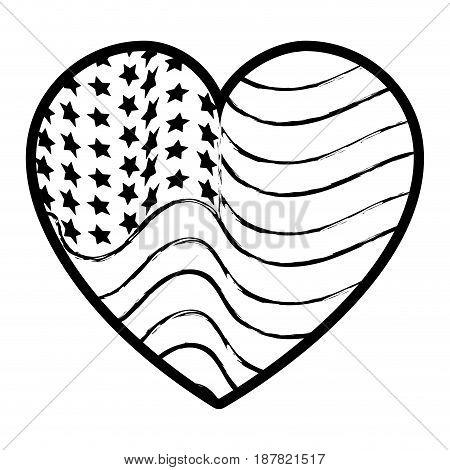 figure nice heart with usa flag inside, vector illustration