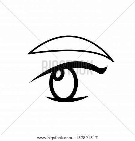 outline with female eye and eyebrow vector illustration