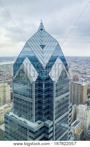 Two Liberty Tower in Philadelphia - aerial view  -  2017