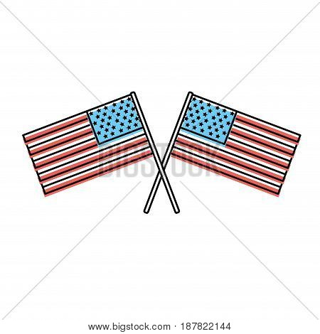 usa flags to celebrate holiday patriotic, vector illustration