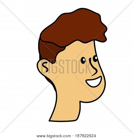happy and nice head man with hairstyle, vector illustration