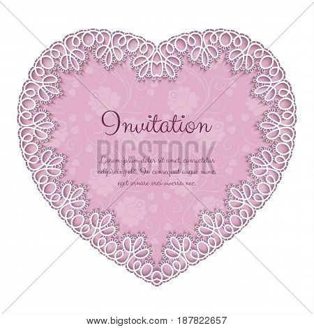 Elegant invitation or greeting card template with lace heart shaped frame. Vector Illustration